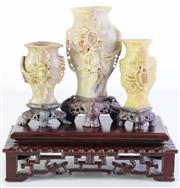 Sale 8994 - Lot 50 - A Set Of Three Soapstone Vases On Stand (Tallest Vase H: 13cm)