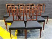 Sale 9014 - Lot 1033 - Set of Nine Sheraton Style Satinwood Dining Chairs, the square backs with crossed splats, black horse-hair style upholstery & taperi...
