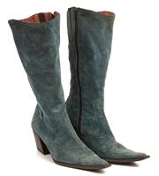 Sale 9071F - Lot 53 - A PAIR OF SUEDE CALF LENGTH BOOTS; with pointed toe and zip to side, size 36