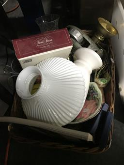 Sale 9101 - Lot 2314 - Wicker tray of sundries inc vase, trivial pursuit, lamp shade and others