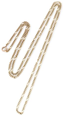 Sale 9140 - Lot 311 - A 14CT GOLD CHAIN; 2.5mm wide long and short cub link chain to a bolt ring clasp, length 80cm, wt. 15.07g.