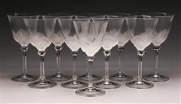Sale 9136 - Lot 232 - A set of 10 J.G Durand frosted crystal wine glasses (H 19cm)