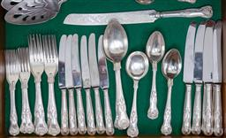Sale 9140H - Lot 20 - A suite of silver plated cutlery in the Kings pattern some examples by Grosvenor.