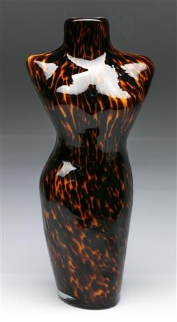 Sale 9148 - Lot 38 - A Tortoise shell style art-glass vase in lady form (H:35cm)