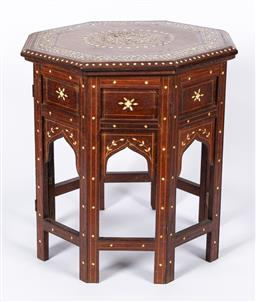 Sale 9170H - Lot 86 - An inlaid Indian folding octagonal occasional table with removable top, circa 1935. Height 49cm