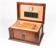 Sale 8342A - Lot 32 - A good quality timber cigar humidor with a well fitted interior, 19.5 x 38 x 26.5cms