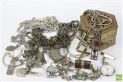 Sale 8486 - Lot 69 - Brass Box of Costume and Silver Jewellery incl cuff links, bracelets, etc