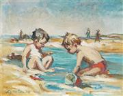 Sale 8657A - Lot 5064 - Lynette Lee (C20th) - A Day At The Beach, 1974 20 x 25cm (Frame approx. 30 x 35cm)