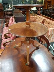 Sale 8774 - Lot 1079 - Georgian Style Round Mahogany Dumbwaiter, of two graduated tiers, on turned pedestal & outswept legs on castors