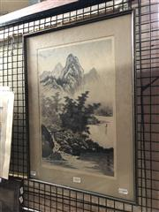 Sale 8797 - Lot 2019 - Chinese School - Mountain Scene with River ink and wash, 52.5 x 39cm, stamped and inscribed lower right