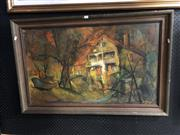 Sale 8803 - Lot 2083 - Joan Dent - Beach House, oil on board, 67.5 x104cm, signed lower right