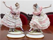 Sale 8908H - Lot 90 - A pair of Dresden porcelain ladies in crinoline skirts (slight damage). Height 30cm