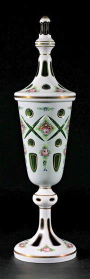 Sale 9010 - Lot 57 - Bohemian Lidded Green Glass Vase With Handpainted Flowers (H:42cm)