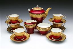 Sale 9098 - Lot 147 - Aynsley Red & Gold Coffee Service - broken handle to coffee pot & creamer
