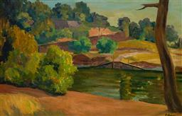 Sale 9125 - Lot 524 - Roland Wakelin (1887 - 1971) Seine Scenery oil on board 39.5 x 60.5 cm (frame: 53 x 74 x 5 cm) signed lower right
