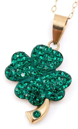Sale 9128J - Lot 47 - A 9CT GOLD CRYSTAL SHAMROCK PENDANT NECKLACE; set in composite with green crystals, size 25 x 15mm, on a fine cable link chain, leng...