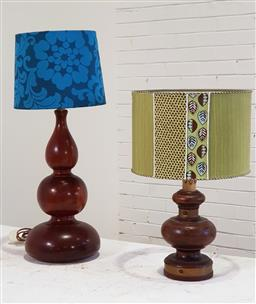 Sale 9166 - Lot 1075 - Timber table lamps x 2 (h:63cm)
