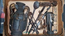 Sale 9176 - Lot 2344 - Box of mostly wooden wares, incl. carved figures, oversized cutlery, incense burner and a cane wrapped jug