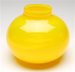 Sale 9238 - Lot 52 - A bold yellow cased vase with opaque lower half (H:20.5cm)