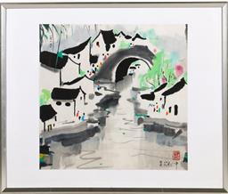 Sale 9253 - Lot 129 - A framed Chinese picture depicting village and river (53cm x 62cm)