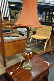 Sale 8066 - Lot 1084 - Brass and Glass table Lamp