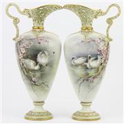 Sale 8356 - Lot 47 - Grainger Worcester Pair of Reticulated Ewers