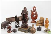 Sale 8546 - Lot 39 - Carved Cultural Items Incl Puzzle Ball Vase, Chinese Figure, Maori Carvings and lidded containers