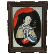 Sale 8795K - Lot 14 - A Chinese reverse painting of a nice lady on glass