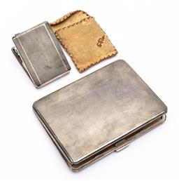 Sale 9170H - Lot 56 - A hallmarked cigarette case with inscriptions to interior, Birmingham, by T & S, Length 11.5cm, together with a matching silver matc...