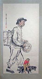 Sale 8221 - Lot 90 - Jiang Zhaohe Signed A Man with Monkey & Dog Hand Painted Watercolour Scroll