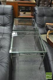 Sale 8392 - Lot 1026 - Pair of Metal Base Glass Top Side Tables