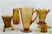 Sale 8494 - Lot 3 - Amber Glass Collection inc Jugs and Vases