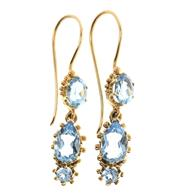 Sale 8517 - Lot 335 - A PAIR OF 9CT GOLD TOPAZ EARRINGS; each a line drop of 3 London blue topaz with beaded decoration, length 32mm.