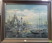 Sale 8587 - Lot 2095 - Anita Newman - Harbour Reflections - Acrylic on Canvas SLL