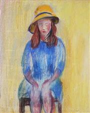 Sale 8732 - Lot 516 - Jamie Boyd (1948 - ) - Girl with Yellow Hat 92 x 75cm