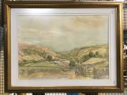 Sale 8779 - Lot 2085 - Artist Unknown - Country Valley and Cottage, watercolour,  77 x 99cm (frame)