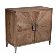 Sale 8824A - Lot 20 - A sun burst patterned parquet  cabinet in  solid elm with metal inlay. antique pewter look door hardware,  Height  92 cm  x Width 10...