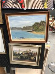 Sale 8865 - Lot 2037 - Untitled Eve Virick Signed Lower Left Coastal Scene (52cm x 39cm) Together with Another Work Signed Giles of A Boat Shed Scene 44x 34