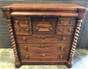 Sale 8993 - Lot 1050 - Victorian Mahogany Chest of Eight Drawers, with cross panel centre drawer & barley twist columns (various faults, H: 127 x W: 128 x...