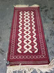 Sale 9017 - Lot 1048 - Hand Knotted Pure Wool Persian Turkoman in Cream and Red (190 x 80cm)
