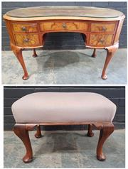 Sale 9026 - Lot 1070 - Kidney Shaped Dresser on Cabriole Legs Together with Stool (h:75 x w:121cm)