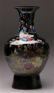Sale 9078 - Lot 56 - A Black Ground Chinese Baluster Vase Decorated With Flowers H: 57cm