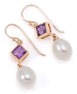 Sale 9132 - Lot 391 - A PAIR OF AMETHYST AND PEARL EARRINGS; each a line drop of a rub set carre cut amethyst and an 8.3 x 7mm cultured freshwater pearl t...