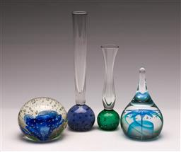 Sale 9131 - Lot 62 - Art glass paper weights (2) together with 2 small vases (H:19cm)