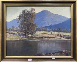 Sale 9152 - Lot 2004 - Wykham Perry Country NSW Riverscene oil on board 47 x 57cm, signed lower left