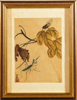 Sale 9253 - Lot 401 - Framed Chinese picture depicting plants and insects (46cm x 34cm)