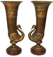 Sale 7974 - Lot 90 - Neo Classical Style Pair of Swan Urns