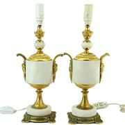 Sale 8356 - Lot 40 - French Gilded Bronze & Alabaster Pair of Bedside Lamps