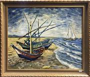 Sale 8563T - Lot 2031 - Artist Unknown - Boats on the Shore, oil on canvas on board, 49 x 60cm, unsigned