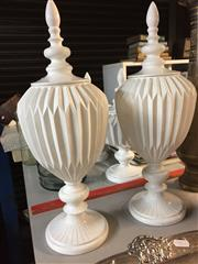 Sale 8657 - Lot 1085 - Pair of Plastic Lidded Urns